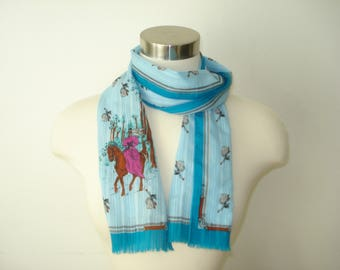Vintage Long Blue Scarf - Horse Riding Scarves - Womens Fall Autumn  Accessories 1970s