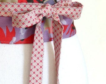 Reversible Obi Belt, pink, coral, mauve. Made in France by Lorella Creations / Funky Bags 'n Bibs
