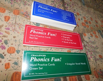 Challenger School Phonics Fun, The Learning Crew, 3 Flash Card Set  Teaching Phonics Reading Set, Home Schooling,