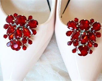 Red Rhinestone Shoe Clips,Red Bridal Shoe Clips,Red Wedding Shoe Clips,Red Crystal Shoe Clips,Red Shoe Jewelry,Red Shoe Accessories