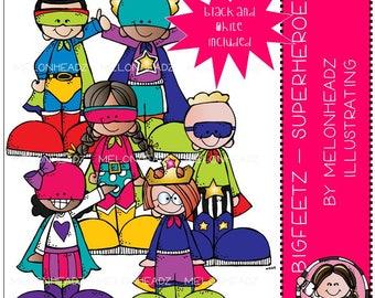 Bigfeetz clip art - Superheroes - Mini - Melonheadz Illustrating