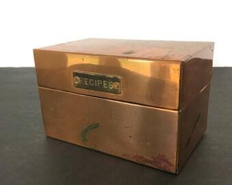 Vintage Copper Recipe Card File Box Rustic Farmhouse Kitchen Decor