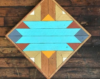 "Reclaimed Lath Wood Southwest Wall Art 13""x 13"" Aqua/Gold/Blue/Rust"