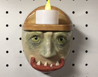 MEDIUM WALL SCONCE - Wheel thrown, hand altered and sculpted. Just a friendly wall sconce to display your favorite candle. WSM2