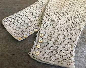 Antique French Lace Sleeves Cuffs Gloves, Hand Worked Antique, Dress Accessory