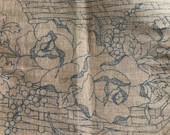 1900s French Hemp Embroidery Stencil, Floral Rose Bouquet Picnic Basket, Craft Supply, DIY, Country Cottage Farmhouse, French Textiles