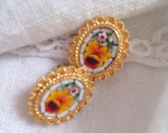 Vintage Mosaic Tile Earrings Yellow Flower