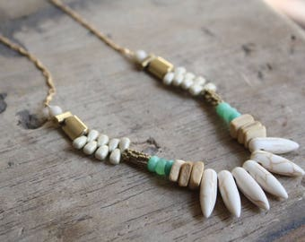 Beaded spike necklace, Ocean beaded necklace, Long tribal beaded necklace, Bohemian long necklace, Statement long gemstone necklace