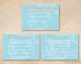 Printable Wedding Enclosure Cards - 3.5x5 - Tangerine Flourish - R.S.V.P., Reception, Accommodations, Other