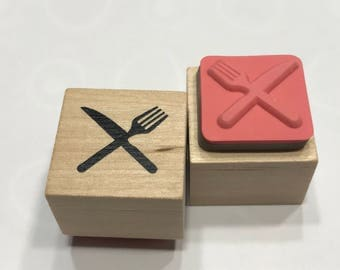 small knife and fork rubber stamp, 25 mm (BB4/2)