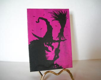 witch silhouette, witch canvas, Halloween decoration, OOAK, halloween art, halloween canvas, halloween silhouette, Halloween wall décor