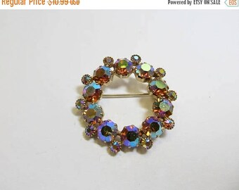 On Sale Vintage Prong Set Iridescent Rhinestone Circle Pin Item K # 3138