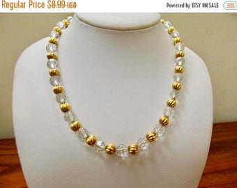 ON SALE Vintage Facetted Glass and Gold Tone Beaded Necklace Item K # 2725