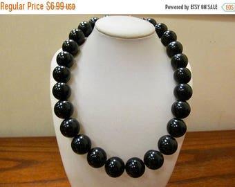 ON SALE Vintage Chunky Black Plastic Beaded Necklace Item K # 2561