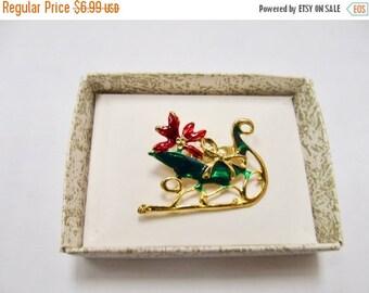 ON SALE Vintage Enameled Christmas Sled Pin Item K # 2177