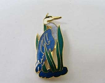 ON SALE Vintage Enameled Crane Pin Item K # 2464