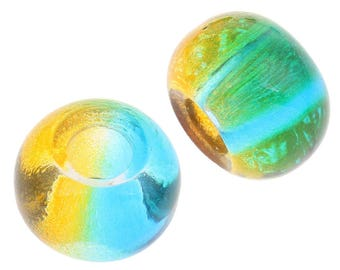 2 European Lampwork lampwork glass beads large hole