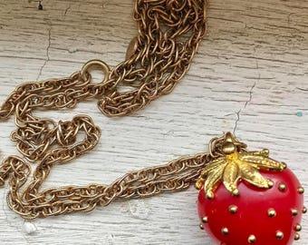 Best  vintage strawberry pendant neckace
