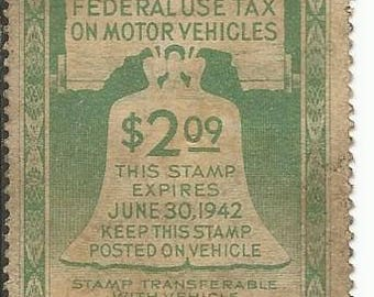 Vintage 1942-1945 Federal Use Tax on Motor Vehicles Stamps