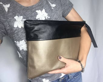 Beige and black leather clutch, black  leather bag, leather bag, leather clutch,clutch, small purse, small bag