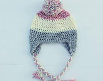 Little Girl Pom Pom Hat, Pink, Cream, Gray, Baby Girl Earflap Hat, Toddler Girl Hat