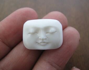 Small Rectangular face cabochon Closed eye,buffalo bone carving,  Jewelry making supplies , B6851