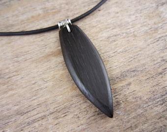 Long Surfboard Necklace, Bog Oak Black Surfboard Pendant, Black Surfer Necklace On Leather Cord, Bog Oak Ancient Wood 3300 B.C.