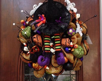 Black Witch Hat and Witch Boot Wreath