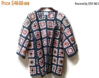 SALE Quilted granny sweater jacket cardigan handmade by Sunny Campbell size L vintage