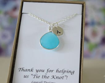 7 Monogram Bridesmaid Necklace Aqua Blue, Bridesmaid Gift, Blue Gemstone, Sterling Silver, Initial Jewelry, Personalized, Jr Bridesmaid Gift