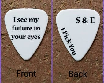 CUSTOM message Personalized special guitar pick memento for him or her country wedding favor anniversary gift southern girl guy love bf gf