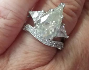 Sale - Moissanite Engagement Ring,  Pear Shaped Engagement Ring, Pear Shaped Moissanite