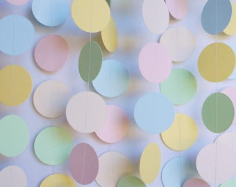 Light Pastel Baby Shower Decoration, Yellow-Green-Blush-Cream-Blue Garland, Baby Shower Party Decor, Gender Reveal Party, Sprinkle Shower