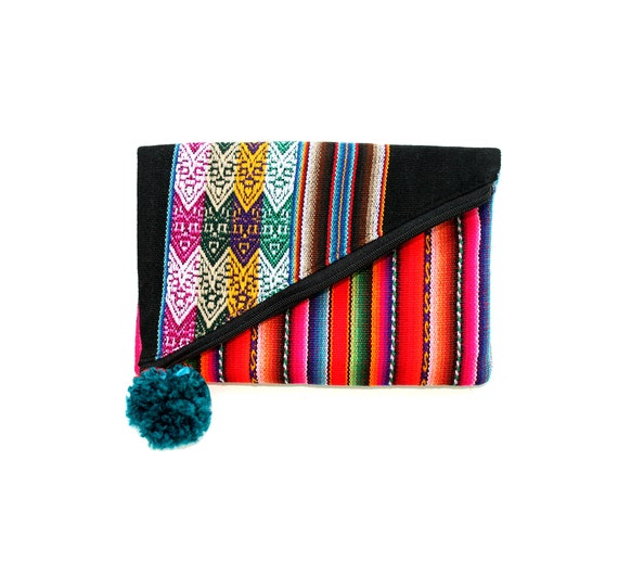 SALE! Small, clutch, teal pom pom, black, Peruvian, stripes, flat bag