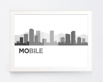 Mobile Skyline Black and White Print, Mobile Wall art, Black and White Skyline, Alabama Skyline, INSTANT DOWNLOAD
