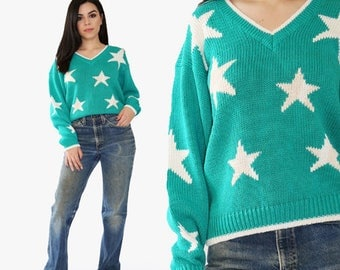 Vintage 90s green STAR Novelty knit Sweater TOP sweatshirt Sz. PM