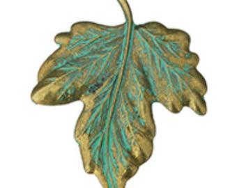 1pc 47x62mm zinc alloy with green leaf pendant-1668d