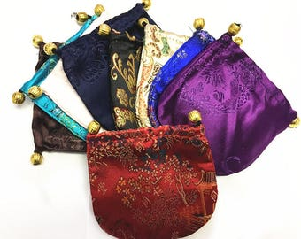 """6pc Mix-Color Embroidery Draw String  Bags, Pouch Size 4 .1"""" x 4 .1""""-B74"""