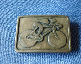 Vintage 80s SOLID BRASS BICYCLE Belt Buckle Made in Usa