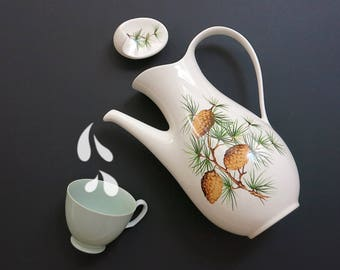 Eva Zeisel Pinecone Coffee Pot - Eva Zeisel Hallcraft Tomorrow's Classic - Vintage Hall China Coffee Server - Pine Cones & Branches
