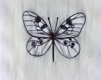 Little Butterfly Original Ink Illustration on painted Paint paper