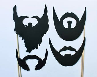 Set of 4 Beards Photo Booth Props. Variety of shapes to reflect hairy, scruffy, or smooth beard styles.