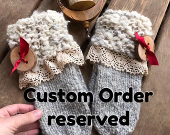 Grey knitted mittens for men, Reserved, made with hand spun yarn, Wool mittens, Custom made for you, Made in Canada