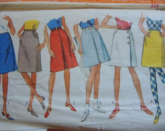 vintage 1960s simplicity sewing pattern 6321 junior skirt in two lengths waist size 25