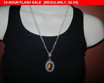 Avon SP brown pendant necklace, estate jewelry, hippie, boho