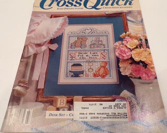 CrossQuick (June/July 1989) - Easy Projects for Cross Stitch Lovers - Counted Cross Stitch Magazine Booklet - Nine Patterns & Projects