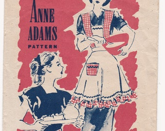 FF RARE 1950s Anne Adams 4917 Half Apron, Bib Apron Vintage Sewing Pattern, Size Medium, MISS Instructions