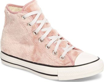 Pink Converse High Top Fuzzy faux Fur Custom w/ Swarovski Crystal Rhinestone Jewels Chuck Taylor Rhinestone Trainers All Star Sneaker Shoes