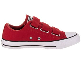Red Converse Low Top Velcro Strap Buckle Chuck Taylor Hook Slip on Canvas w/ Swarovski Crystal Rhinestone Jewel All Star Bling Sneaker Shoes