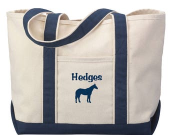 Horse Tote Bag - Horse Tote, Barn Tote, Equestrian Tote, Riding Tote, Riding Bag, Horse Gift, Horse Bag, Horse Gift, 7 Colors
